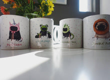 Pugosaurus Rex full cover boxed Sophie Corrigan exclusive for Cupcake Pug Co mug