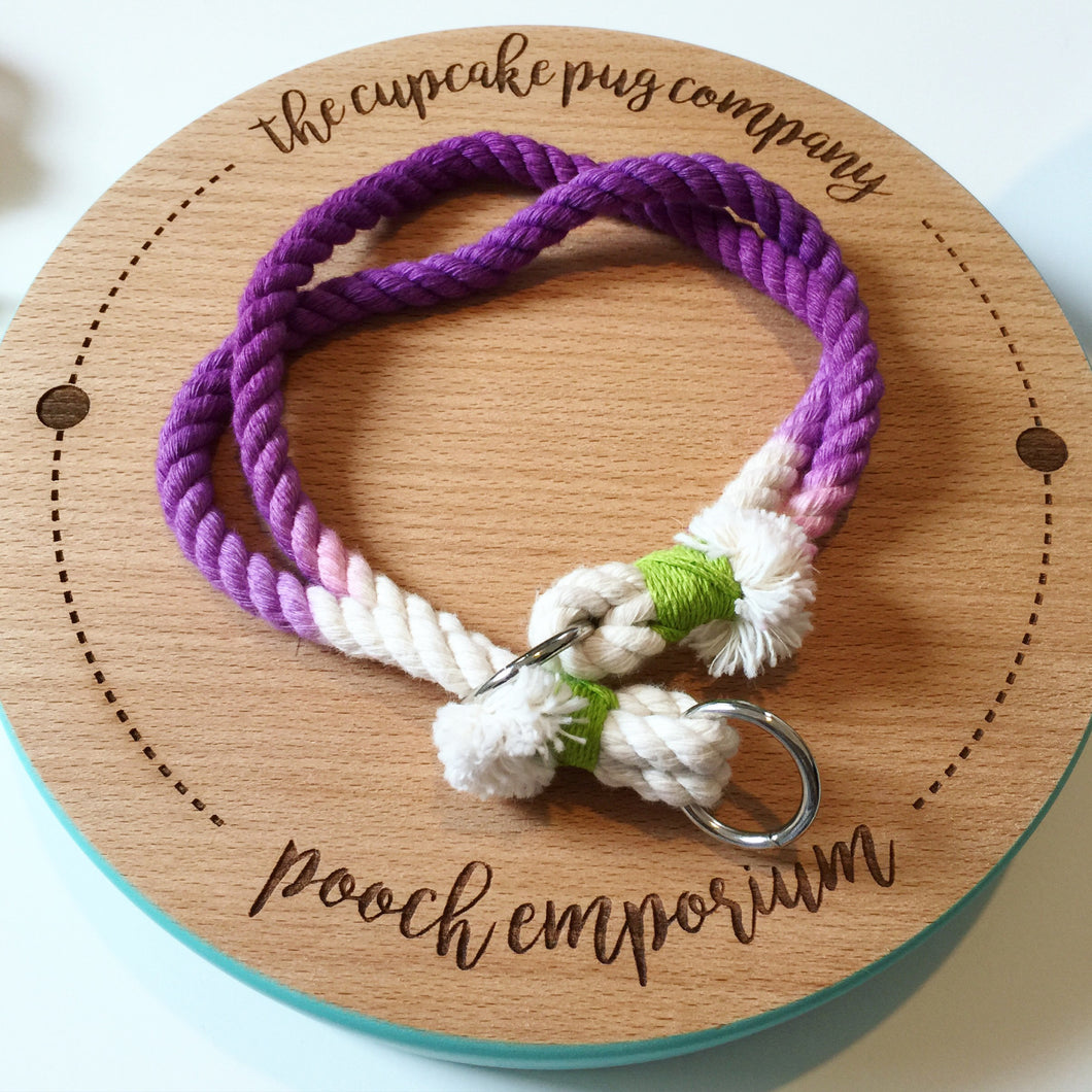 Haus of Hound hand dyed purple rain slip rope Leash adjustable Collar