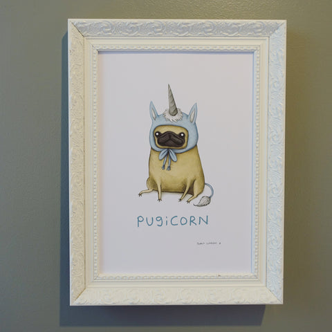 Fawn Pugicorn Sophie Corrigan limited edition exclusive signed A4 Art print