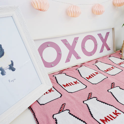 'Got Milk?' 100% cotton blanket in baby pink