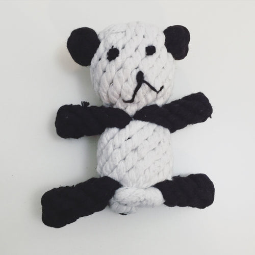 Knotted rope panda toy