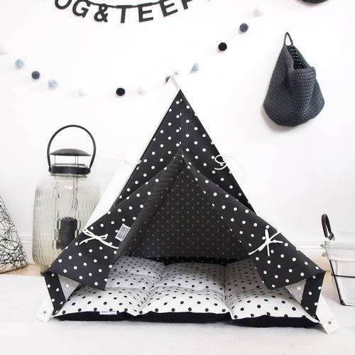 Medium sized black and white dotty Teepee By Dog & Teepee