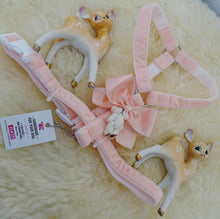 Pimp My Pug 'teddy bear' baby pink velvet harness.
