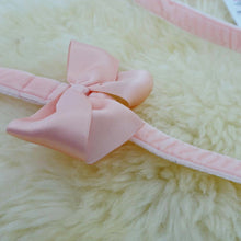 Pimp My Pug soft baby pink velvet leash with satin bow to match teddy bear harness