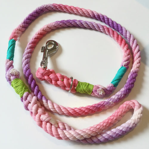 Haus of Hound hand dyed Shirobi double whipped 'Poolside Prick' rope leash