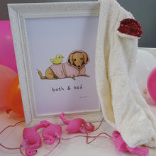 'Bath and Bed' Sophie Corrigan x Cupcake Pug Co signed A4 print