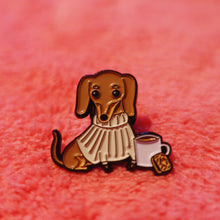 'Custard Cream' Dachshund & Chill petite enamel pin by Cupcake Pug Co x Sophie Corrigan