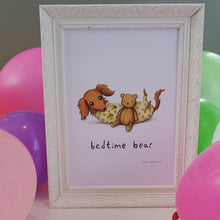 'Bedtime Bear' Sophie Corrigan x Cupcake Pug Co signed A4 print