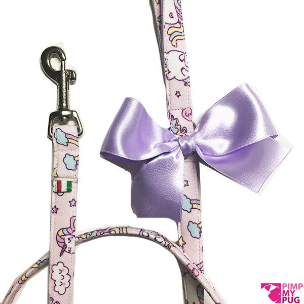 Pimp My Pug Pink Unicorns & Rainbows Leash