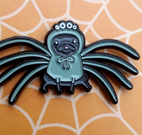 'Pugrantula' petite enamel pin designed by Cupcake Pug Co x Sophie Corrigan