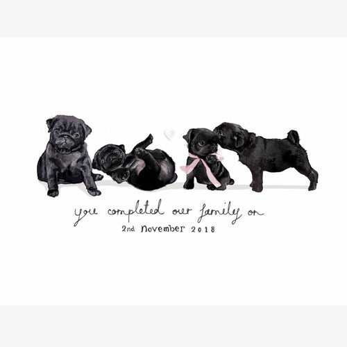 "Bryon Fripp Personalised ""You completed our family"" puppy A4 print"