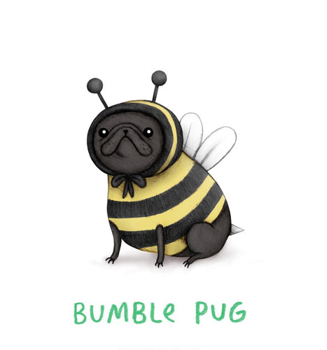 'Bumble Pug' Sophie Corrigan x Cupcake Pug Co collaboration A4 print