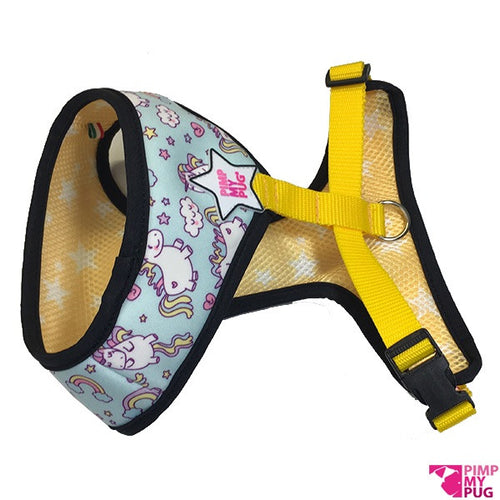 Pimp My Pug Blue Unicorns & Rainbows Reversible harness