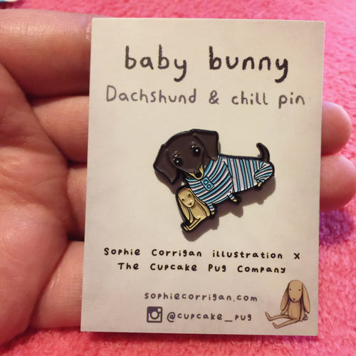 'Baby Bunny' Dachshund & Chill petite enamel pin designed by Cupcake Pug Co x Sophie Corrigan