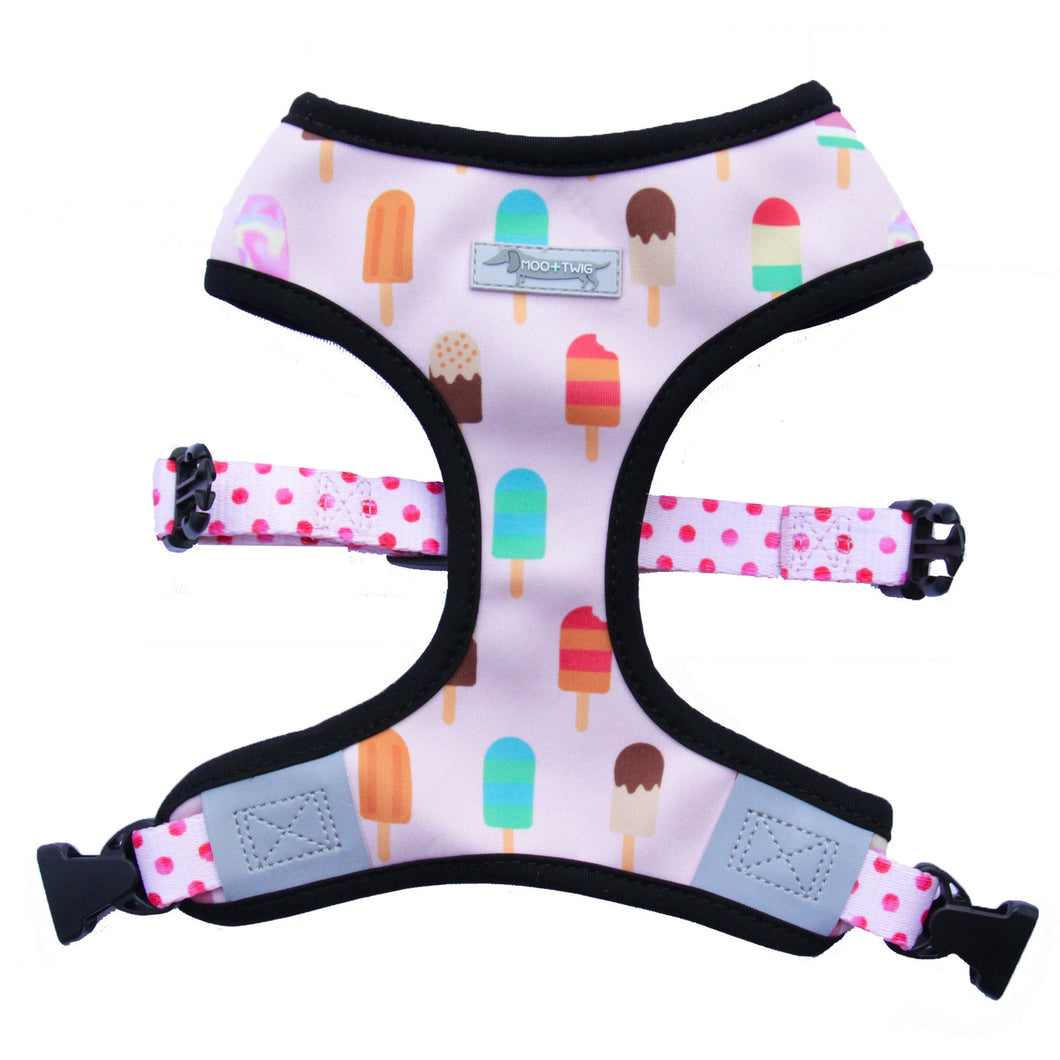 Moo and Twig Reversible TWO-FACED HARNESS - Paddle Pup! + Yum! Cha