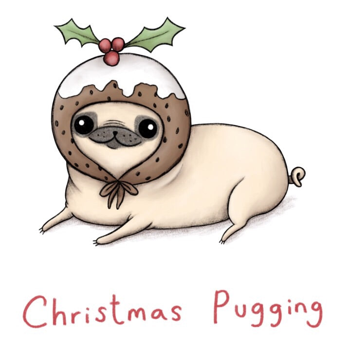 Christmas Pugging LTD edition Sophie Corrigan x Cupcake Pug Co signed A4 print