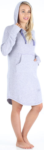 bSoft Women's Hooded Long Sleeve Tunic Soft Knit Nightgown with Pocket Pajamas