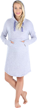 bSoft Women's Hooded Long Sleeve Tunic Soft Knit Nightgown with Pocket Pajamas in Purple Melange