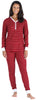 Olivia Rae Women's Thermal Pajama Set in Red Stripe