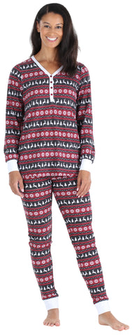 Olivia Rae Women's Thermal Pajama Set in Nordic Red