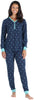 Olivia Rae Women's Thermal Pajama Set in Navy Dot