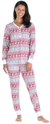 Olivia Rae Women's Thermal Pajama Set in Cross Stitch Fairisle