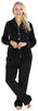 PajamaMania Women's Plush Fleece Long Sleeve 2-Piece Button-Down Pajamas in Solid Black