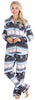 PajamaMania Women's Plush Fleece Long Sleeve 2-Piece Button-Down Pajamas in Fairisle