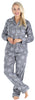 PajamaMania Women's Plush Fleece Long Sleeve 2-Piece Button-Down Pajamas in Grey Snowflakes