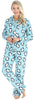 PajamaMania Women's Plush Fleece Long Sleeve 2-Piece Button-Down Pajamas in Light Blue Penguin