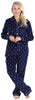 PajamaMania Women's Plush Fleece Long Sleeve 2-Piece Button-Down Pajamas in Navy Polka Dot