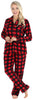 PajamaMania Women's Plush Fleece Long Sleeve 2-Piece Button-Down Pajamas in Red and Black Plaid