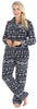 PajamaMania Women's Plush Fleece Long Sleeve 2-Piece Button-Down Pajamas in Black Fairisle
