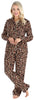 PajamaMania Women's Plush Fleece Long Sleeve 2-Piece Button-Down Pajamas in Cheetah