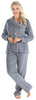 PajamaMania Women's Plush Fleece Long Sleeve 2-Piece Button-Down Pajamas in Grey