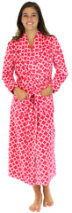 PajamaMania Women's Fun Printed Fleece Long Robes in Pink Trefoil