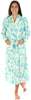 PajamaMania Women's Fun Printed Fleece Long Robes in Teal Snowflake