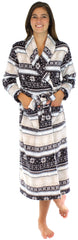 PajamaMania Women's Fun Printed Fleece Long Robes in Fairisle