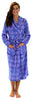 PajamaMania Women's Fun Printed Fleece Long Robes in Blue Plaid
