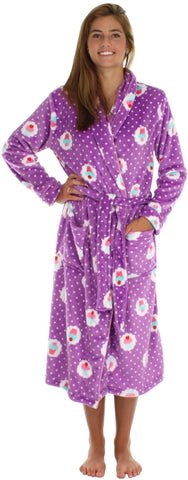 PajamaMania Women's Fun Printed Fleece Long Robes in Cupcakes Purple