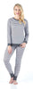 Sleepyheads Women's Striped Knit Lounge Set in Dark Grey & White Stripe