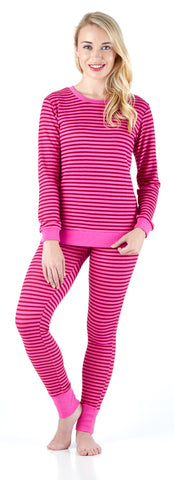 Sleepyheads Women's Striped Knit Lounge Set in Light Raspberry & Pink Stripe