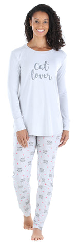 Sleepyheads Women's Knit Longsleeve Top and Leggings Pajama in Feathers