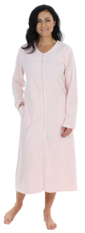 Sleepyheads Minky Fleece Zip Robe in Pale Pink