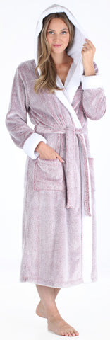 LADIES SOFT FEEL HONEYCOMB FLEECE SHERPA LINED HOODED DRESSING GOWN ROBE WRAP