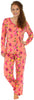 Sleepyheads Women's Lightweight Longsleeve Cotton Pajamas in Coral Floral