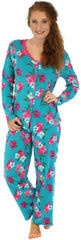 Sleepyheads Women's Lightweight Longsleeve Cotton Pajamas in Blue Floral