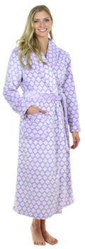 Sleepyheads Women's Luxury Fleece Robe in Lilac Quatrafoil