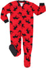 SleepytimePjs Family Matching Fleece Red and Black Moose Onesie Footed Pajamas