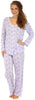 Sleepyheads Women's Lightweight Longsleeve Cotton Pajamas in Periwinkle and White Paisley